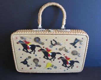 Equestrian Wicker Purse, Hong Kong, Horse Purses, Wicker Purses, Kentucky Derby Purses, Handbags, Vintage Handbags, Wicker Handbags, Horses