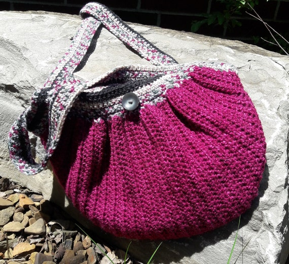Crochet Fat Bottom Hand Bag Wine Colored Yarn And Lined With Etsy