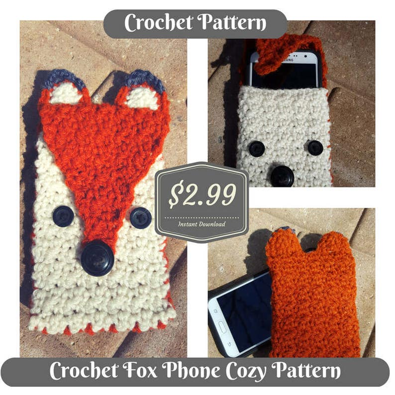 Crochet PATTERN Fox Phone Tablet Cozy Case image 0