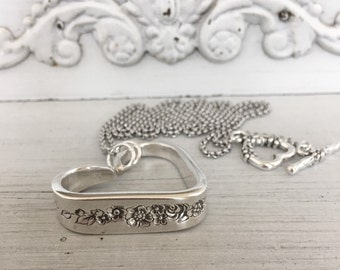Spoon Necklace Silverware Jewelry Silver Mist  Marigold Pattern Floating Heart Necklace Floral Floating Heart Pendant Silver Heart