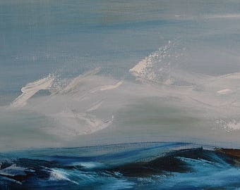 Calming Storm~Large seascape, oil painting, abstract modern art, original artwork, signed, turquoise blue & gray