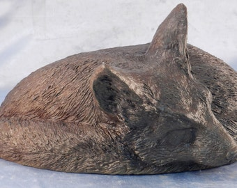 Solid Bronze Lifesize Fox Sculpture~Curled Sleeping Fox~Hot Cast Bronze Using Lost Wax Method