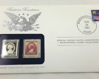 Susan B Anthony Stamp Mailing Envelope Franklin Mint Silver Ingot Bicentennial Collection