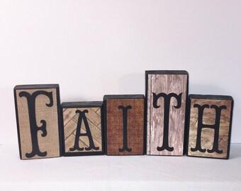 Rustic Wood Decor  -- FAITH -- Wood Decor -- Neutral Colors