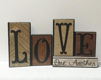 LOVE ONE ANOTHER Wood Block Set -- Rustic Neutrals - Block Set -- Neutral Colors