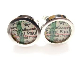 Kiola Designs Saint Paul Minnesota Map Cufflinks