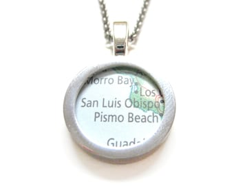 San Luis Obispo California Map Pendant Necklace