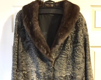 Vintage Persian Lambs Wool Stroller Jacket with Mink Fur Collar