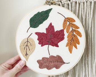 Fall Leaves Embroidery Hoop Art-8 Inch