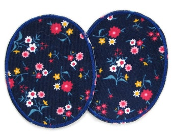 2 Cord ironing patches flowers dark blue, 8 x 10 cm, corduroy patches colorful flowers, patches for ironing