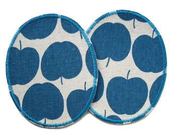 Patch apple petrol, 2 knee patches with apples to iron on for kids
