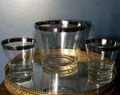 Unique Vintage Barware Set, Rocks Glasses with Ice Bucket, Silver Trim Barware Set