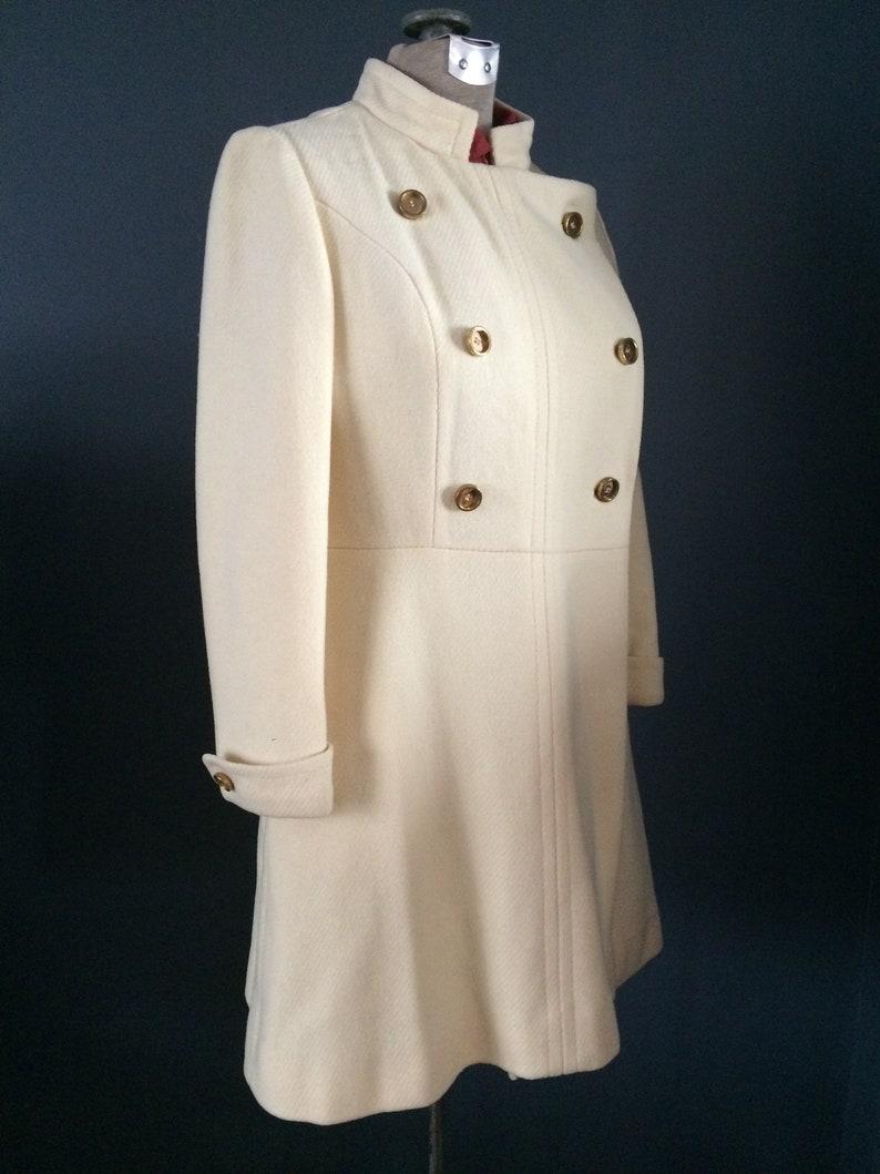 Beatles Winter White Women/'s Mid Length Coat Double Breasted Nehru Jacket Mandarin Collar Vintage Fashion