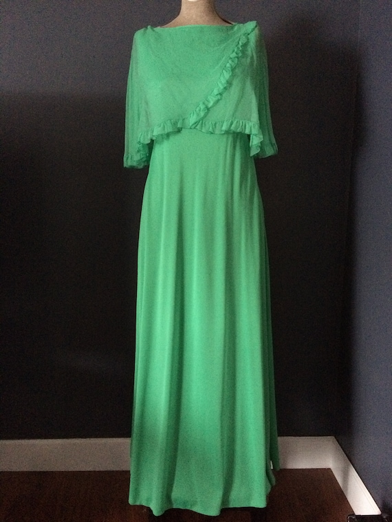Vintage Maxi Dress, Size Small, Light Green Sleeve