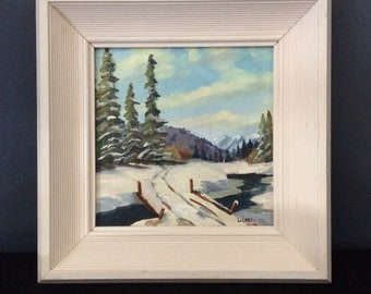 Vintage Small Oil Painting, Small Framed Art, Signed Canadian Landscape