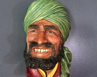 Bosson's England Punjabi, 1964 Plaster Chalkware Head, Interesting Collectible Decor, Signed, Stamped