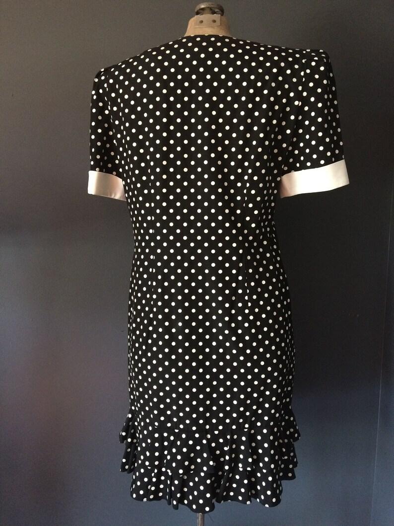 Vintage Black and White Dress Short Sleeves Polka Dot Dress Ruffle Bottom Short Dress Rockabilly