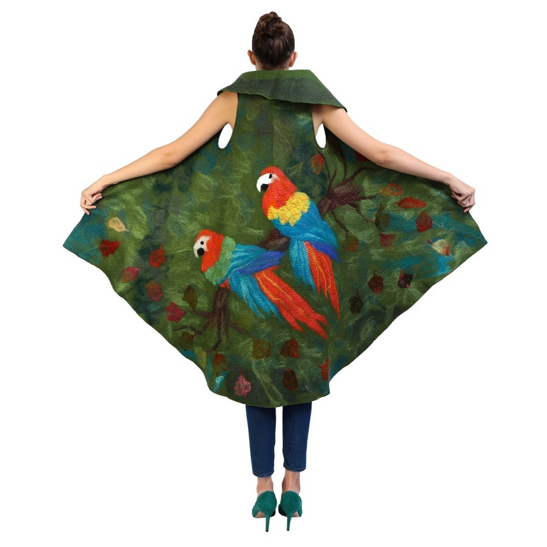 Felted vest with parrots