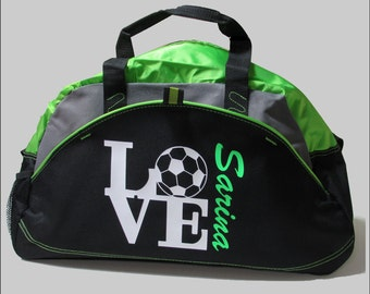 Soccer Bag - I LOVE SOCCER Duffle Bag in Red, Blue Black or NEON Lime with Custom  Personalized Lettering With your Players Name cff9d0cf9e