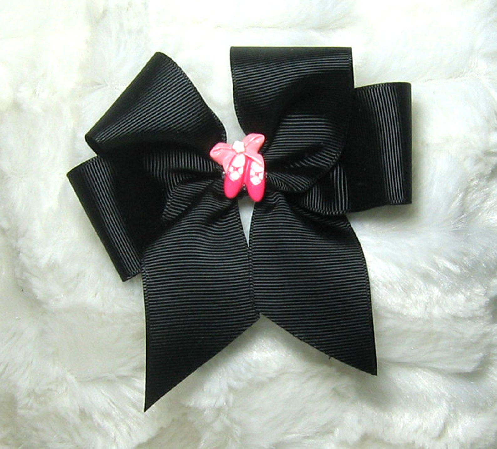 ballet dance bow - 4 inch single girls solid black hair bow with a pair of pink resin ballet shoes in the center