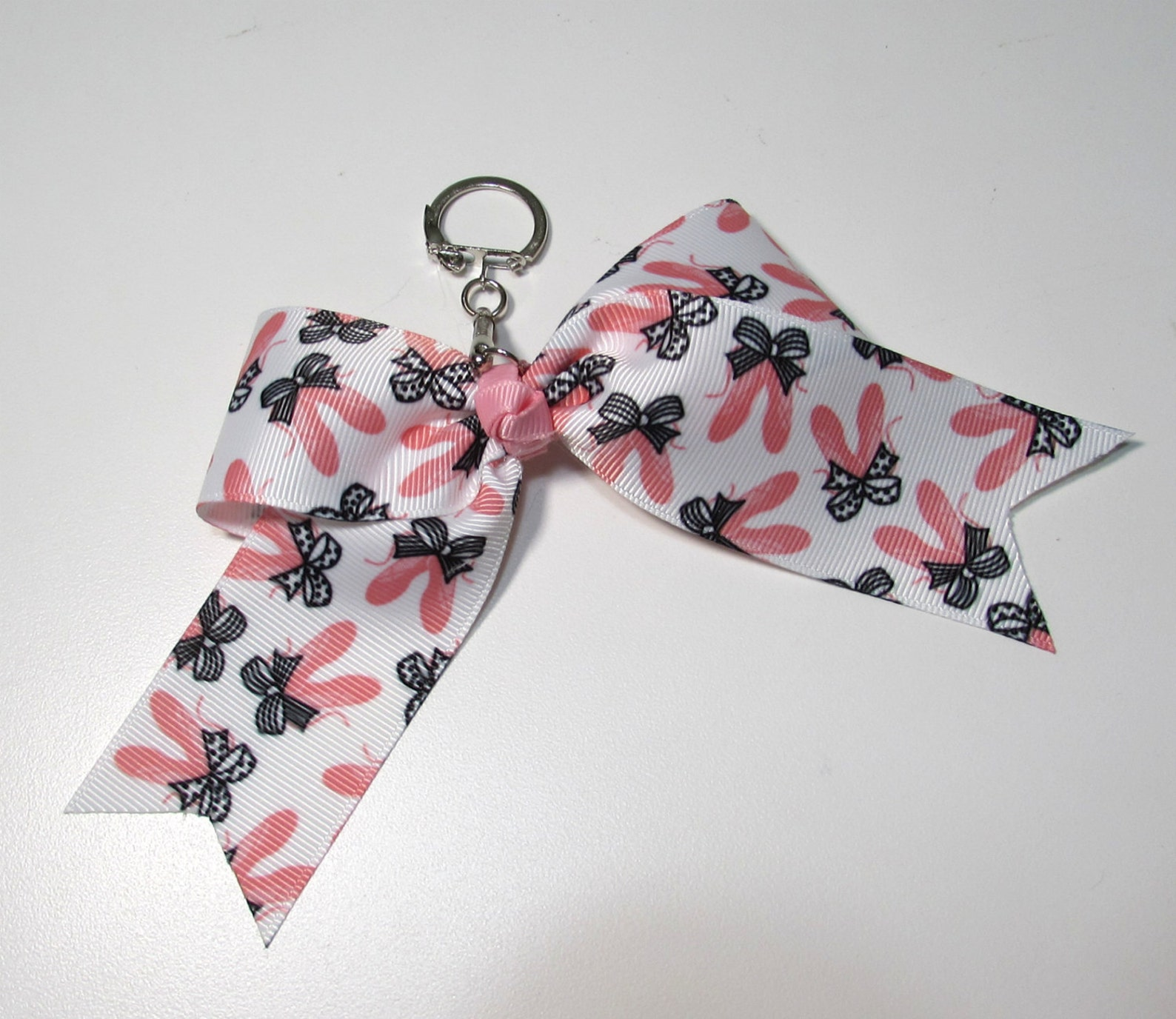 ballet cheer style bow key chain with ballet shoes and latching clasp
