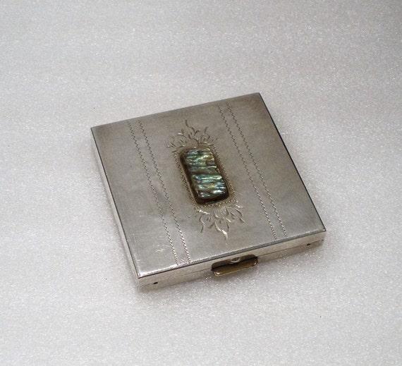 Argent massif Compact / Abalone Pierre maîtresse / miroir & visage poudre Section signé Sterling / collection / article de cadeau