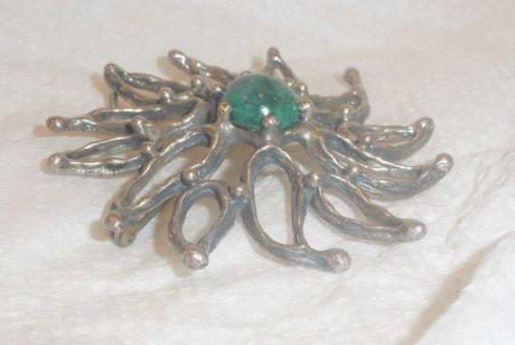 Vintage Sterling Brooch  Pendant  Modern Open Leaf Flower Design Unakite Center Stone Cabochon  Marked 925  Polished Gemstone