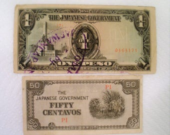 WW2 Japan Occupation Philippine Islands Currency / 50 Centavos & One Peso Notes