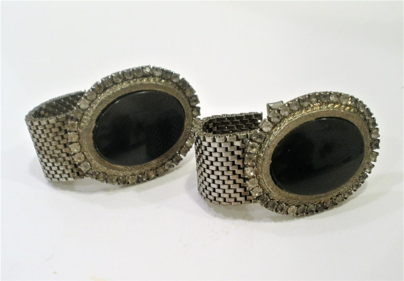 Vintage Wrap Mesh Cuff Links  Big Chunky Cufflinks  Large Oval Black Glass Cabochon  Surrounded w Prong Set Rhinestones  Gift Item