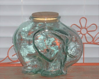 55f39230b2d Mid Century Glass Elephant Jar Canister with Cork Lid ~ Vintage Kitchen  Decor