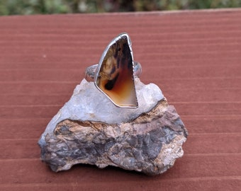 Carnelian Stone and Montana Agate Two Stone Open Ring Sterling Silver Mountain Passage