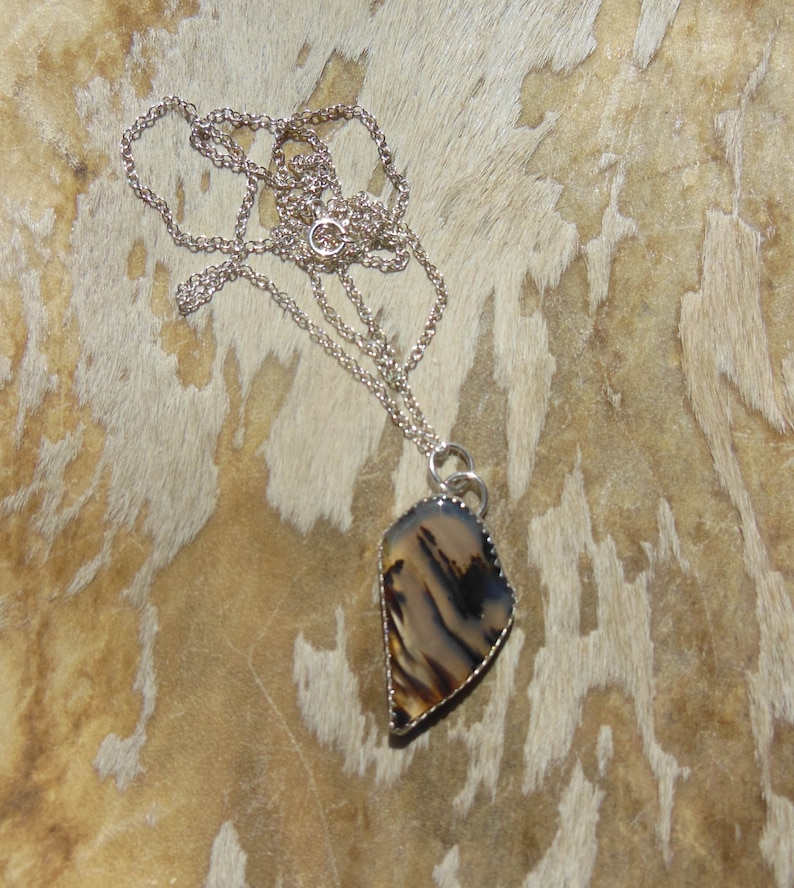 Montana Agate sterling silver necklace pendant  large gem Southwest statement translucent agate quartz earthy boho witchy white magic stone