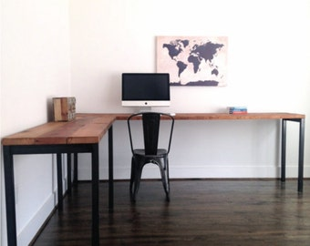 The SAWYER Reclaimed Wood L Shaped Desk