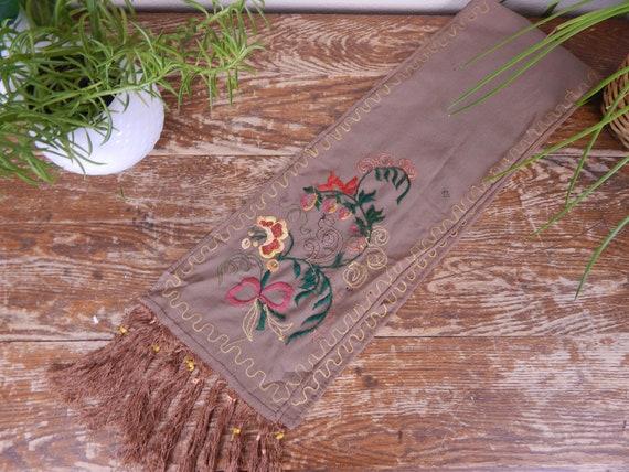 Antique 1900s Edwardian Brown Wool Fringe Edge Sc… - image 5