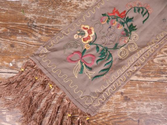 Antique 1900s Edwardian Brown Wool Fringe Edge Sc… - image 6