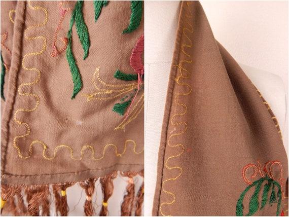 Antique 1900s Edwardian Brown Wool Fringe Edge Sc… - image 8