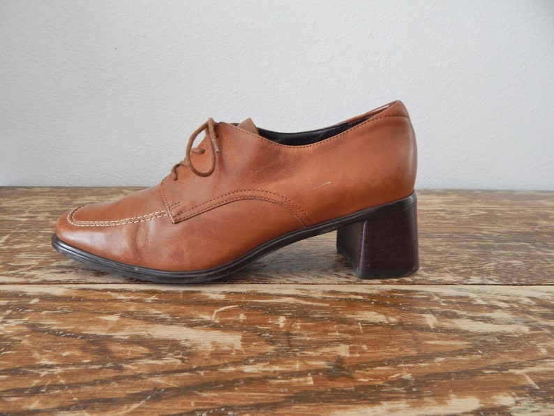 c0918f4bf0b5a Women's Vintage 90s Cognac Tawny Brown Brazil Leather Lace Up Square Toe  Block Heel Comfort Oxford Dress Shoes by Rockport // Size US 8 W