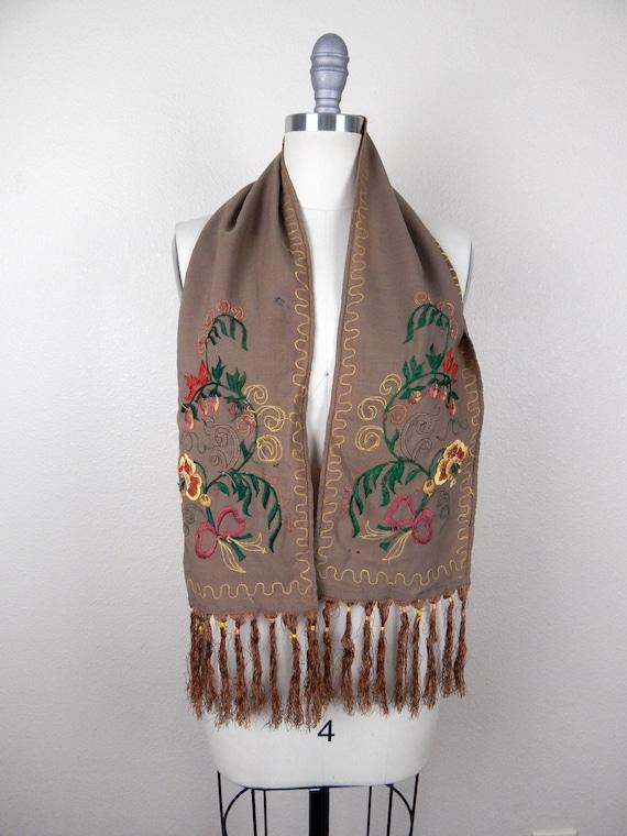 Antique 1900s Edwardian Brown Wool Fringe Edge Sc… - image 2