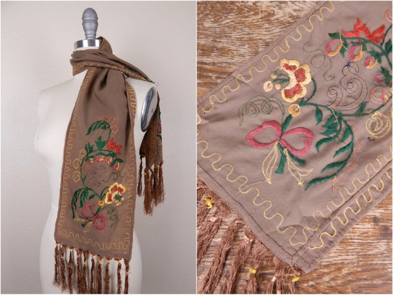 Antique 1900s Edwardian Brown Wool Fringe Edge Sc… - image 1