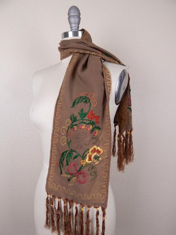 Antique 1900s Edwardian Brown Wool Fringe Edge Sc… - image 4