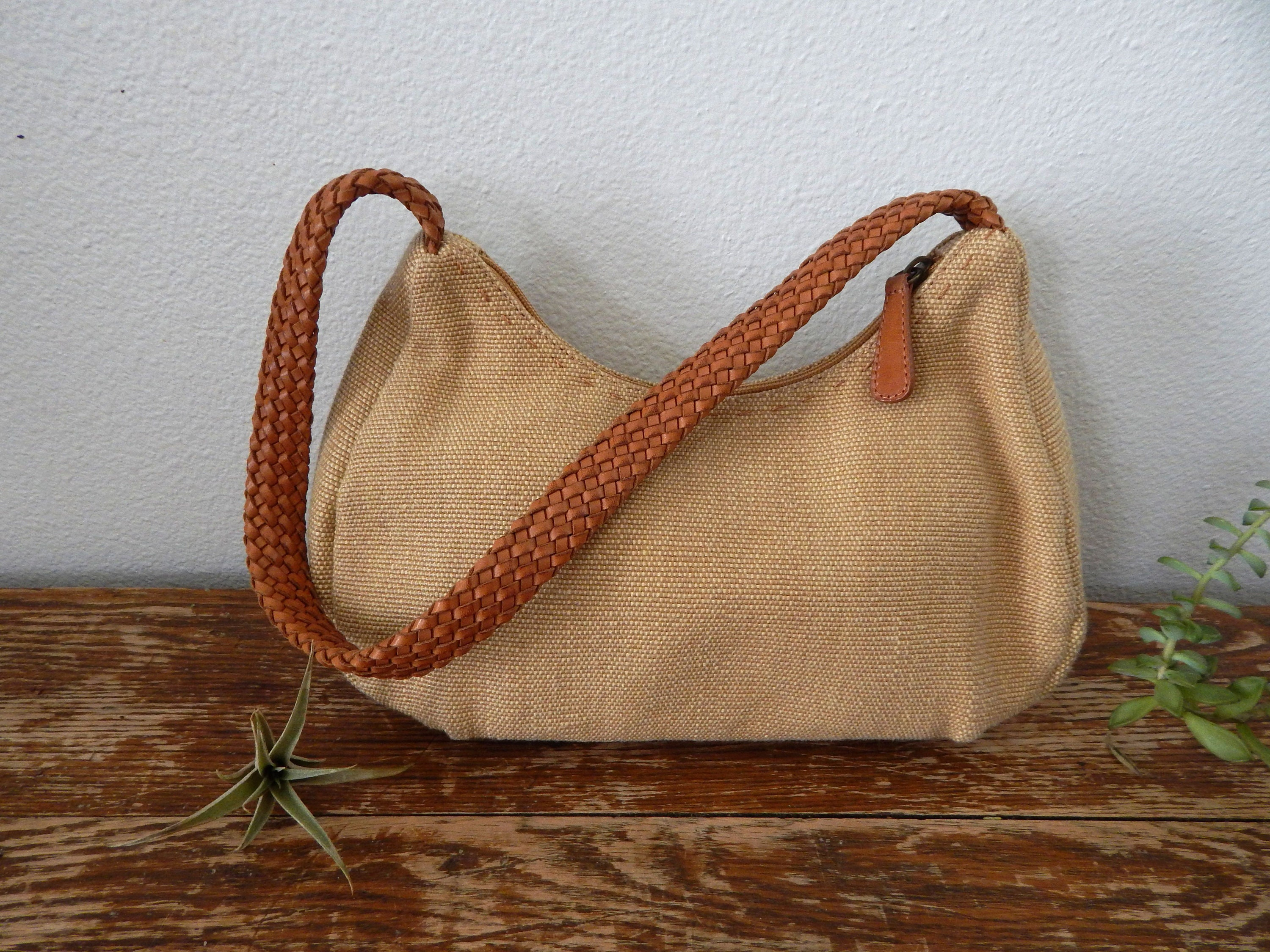 Vintage 90s FOSSIL Small Tan Canvas Hobo Shoulder Handbag with  2943a945463ac