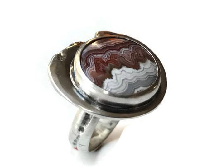 Sterling silver rustic ring, natural stone, crazy lace red round agate, size 6.5, contemporary ring, modern, rough, volcano, fire, quebec