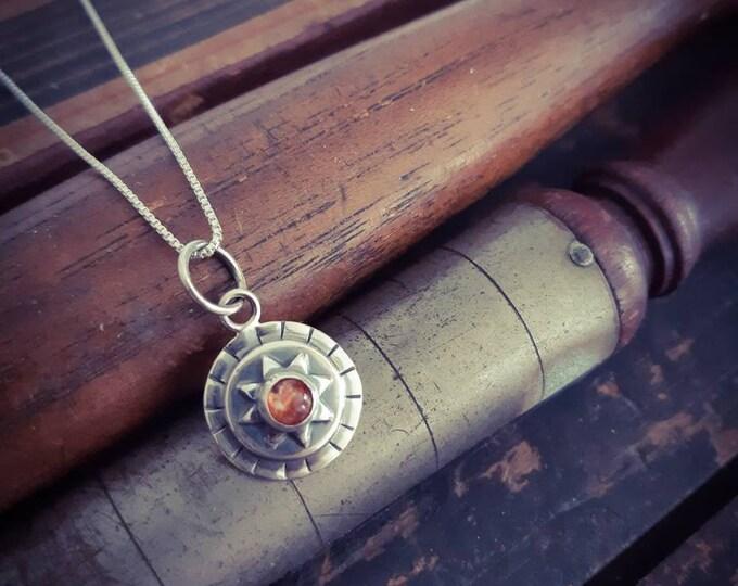 Sterling silver sun pendant, sunstone sterling silver pendant, rustic sun silver pendant
