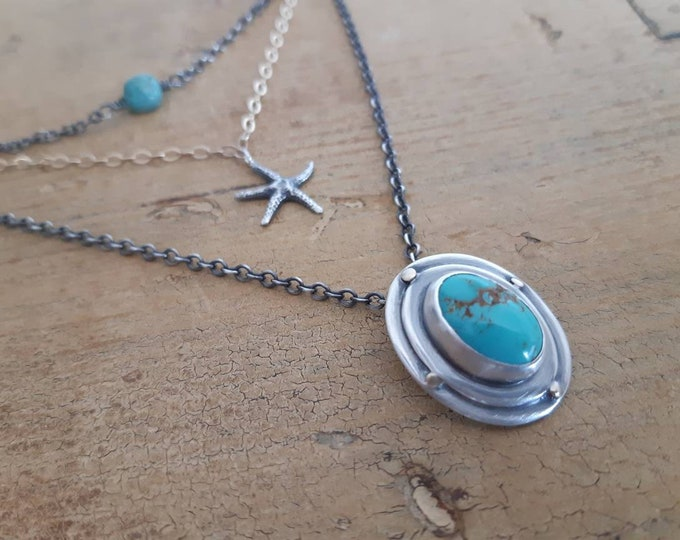 Multi-chains necklace, multi-layers chains necklace, turquoise pendant, turquoises beads, sterling silver and gold chains necklace, starfish