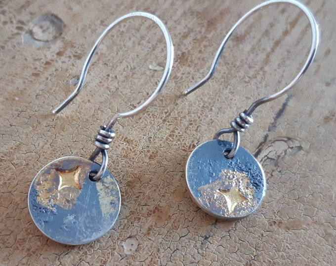 Keumboo, silver and gold small earrings, stars earrings, artisan earrings, one of a kind earrings, night sky earrings