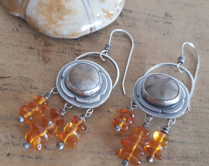 Sterling silver amber earrings, fossil earrings, sand dollars earrings, boho style, one of a kind earrings, artisan earrings