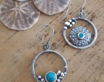 Turquoises Sterling silver drop hoops, urchin earrings, pebbles earrings, one of a kind earrings, artisan earrings, boho rustic earrings