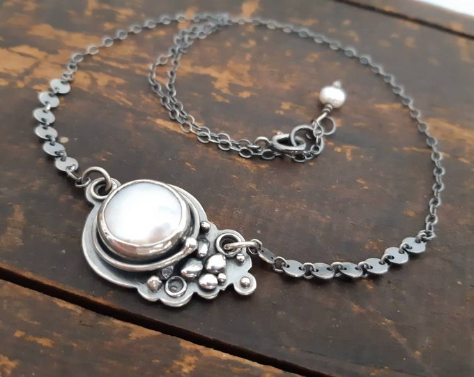 Pearl mabe necklace, pearl coin pendant, large pearl sterling silver pendant, white pearl one of a kind necklace, rustic pearl pendant