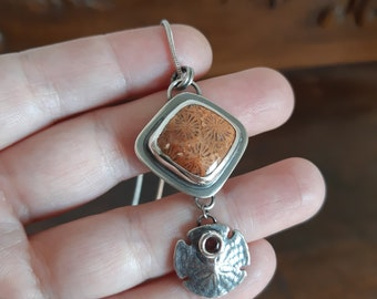 Sterling silver coral pendant, fossil coral, sand dollar pendant, shell pendant, burnt orange stone, beach, one of a kind pendant, unique