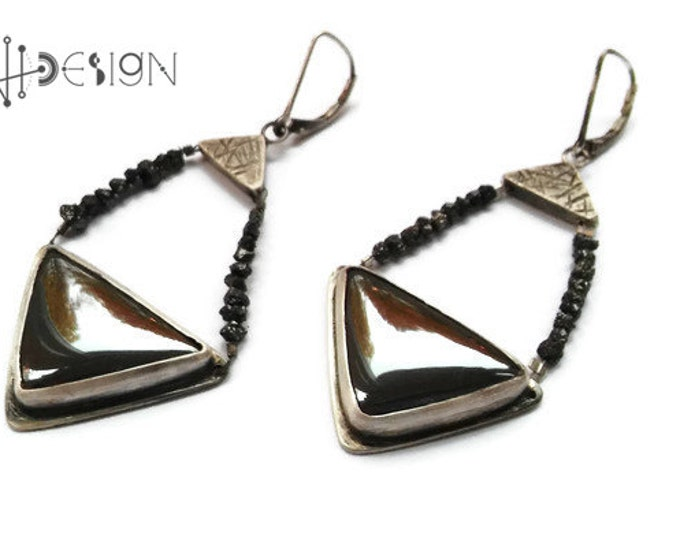 Sterling silver modern earrings with triangles hematites, geometric, rough natural black diamond, precious black stone, oxidized, rustic